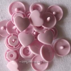 Pressions KAM cœur rose pastel