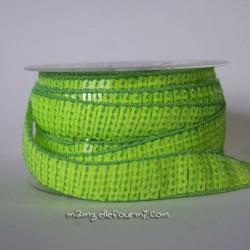 Galon à sequins fluo vert