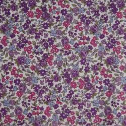 Batiste Frou-Frou fleurie écru/violet