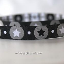 Ruban pois-étoiles noir
