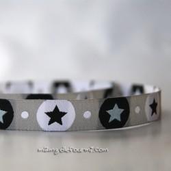 Ruban pois-étoiles gris argent