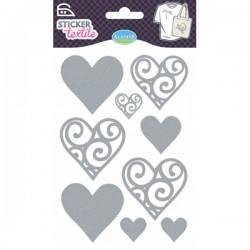 Sticker textile cœurs glitter