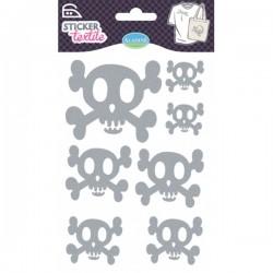 Sticker textile tête de mort glitter