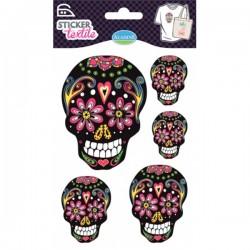 Sticker textile têtes de mort