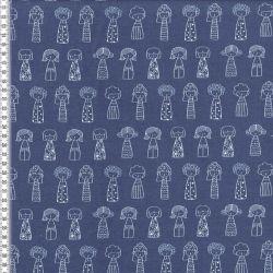 Molleton poupées bleu jean