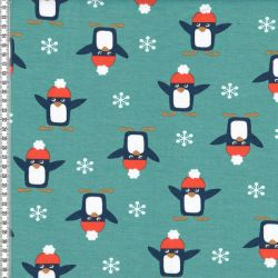 Molleton pingouins menthe
