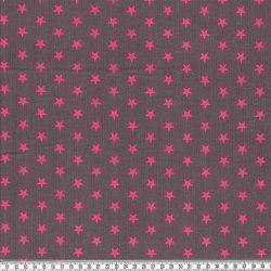 Velours étoiles fuchsia/gris