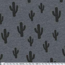 Jersey coton/élasthanne Cactus gris chiné