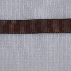 Ruban gros grain chocolat à pois rouge