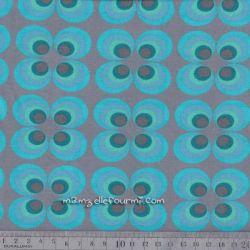 Jersey retro circles turquoise
