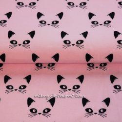 Jersey bio chats noirs sur rose