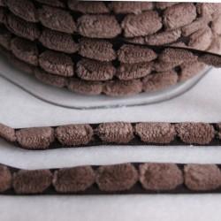 Ruban pompons plats marron glacé