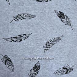 Molleton gris plumes