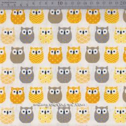 Cretonne mini hiboux jaune/gris