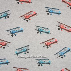 Molleton gris avions
