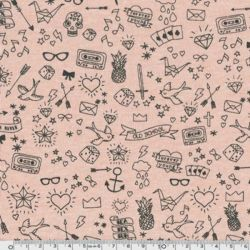 Molleton tatouée pour la journée rose poudré chiné
