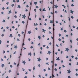 Matelassé bio rose étoiles bleu/gris