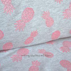 Molleton ananas glitter rose