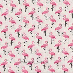 Cretonne flamingo écrue