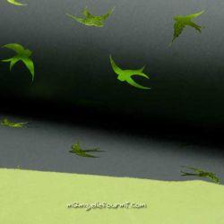 Softshell imprimé lamé oiseaux lime
