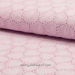 Coton brodé cœurs rose