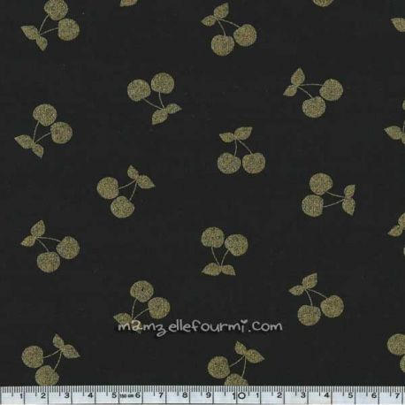 Jersey coton/élasthanne cherries gold noir