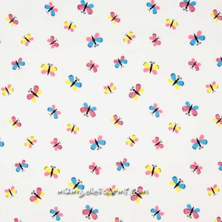 Jersey papillons multicolore glitter