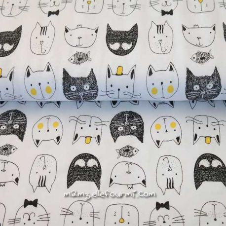 Jersey bio cats blanc/noir/jaune