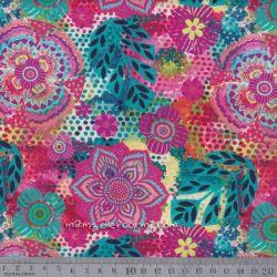 Coton amarante multicolore