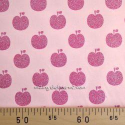 Jersey pommes glitter rose