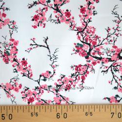 Satin de coton fleurs de cerisier blanc