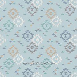 Coton triangle print bleu clair
