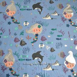 Jersey lamé petite sirène bleuet