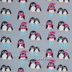 Softshell imprimé pingouins rose