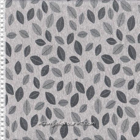 Molleton gris chiné feuilles