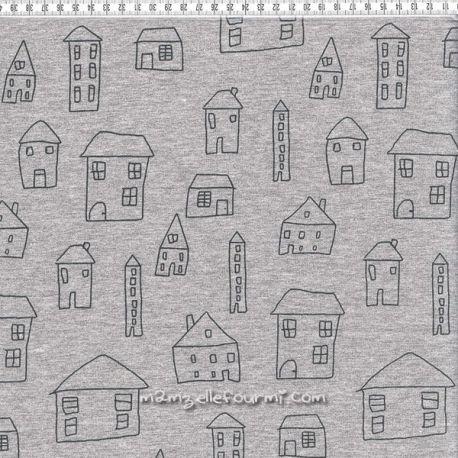 Molleton gris chiné maisons