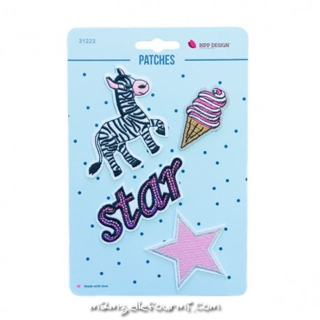 Lot de patches thermocollants zebra star