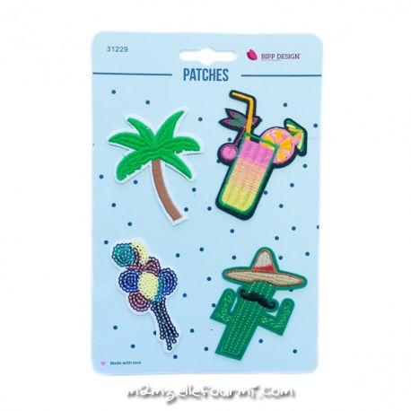Lot de patches thermocollants coktail palmtree