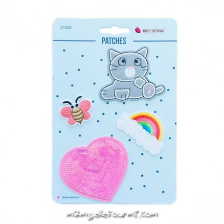 Lot de patches thermocollants cat heart