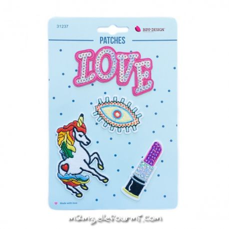 Lot de patches thermocollants love eye