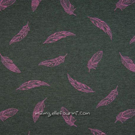 Molleton feuilles glitter fuchsia
