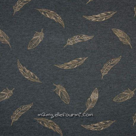 Molleton feuilles glitter or