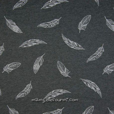 Molleton feuilles glitter argent