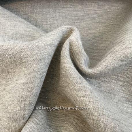 Molleton lurex gris clair
