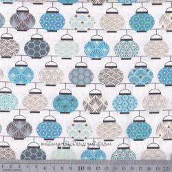 Cretonne lampions bleu/gris