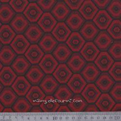 Jacquard stretch polygones rouge foncé
