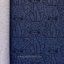 Sweat chats chiné bleu foncé