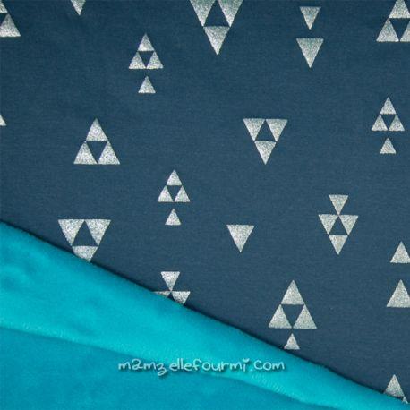 Sweat-minkee pyramides glitter pétrole/turquoise