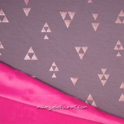 Sweat-minkee pyramides glitter gris/fuchsia