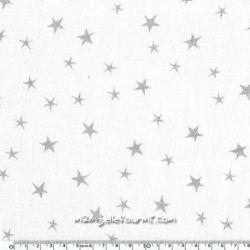 Lin lavé imprimé constellation blanc encre argent